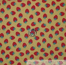 BonEful Fabric Cotton Quilt Yellow White Polka Dot Small Red Straw*berry L SCRAP