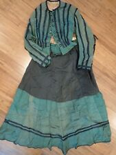 1890's Womens Top & Skirt Set- Green & Black~ As Is