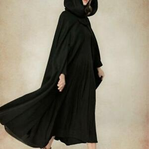 Womens Vintage Maxi Cloak Cape Jacket Long Hooded Parka Coat Casual Outwear 5Col