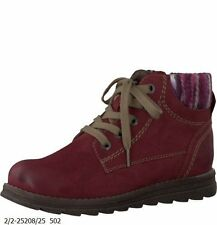 Ladies Marco Tozzi Red Vino Lace Up Ankle Boots Sizes UK 3 - 8 25208