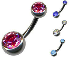 DOUBLE JEWELED TITAN G23 FARBIG BANANE PIERCING 1,6mm BAUCHNABELPIERCING STEIN