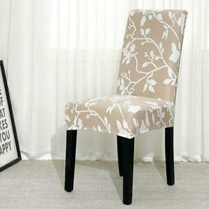 Beige / White Floral Pattern Dining Room Chair Cover Slipcover