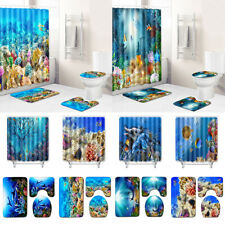 Ocean Fish Fabric Shower Curtain Sea Coral Bathtub Decor Toilet Cover Bath Mat