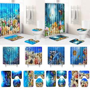 Ocean Fish Fabric Shower Curtain Sea Coral Bathtub Decor Toilet Cover Bath Mat