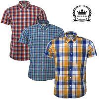 Relco Men's Short Sleeve Shirt Check Yellow Blue Orange Button Down Collar