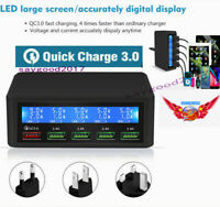 QC 3.0 USB Smart Quick Charge Lcd digital 5 Port Charger Power Adapter Station