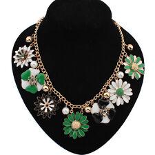 Cadena De Oro colorida flor Perlas Gargantilla Gruesa declaración Babero Collar collar