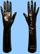 WOMENS size 9.5 4XL LONG BLACK GENUINE PATENT LAMBSKIN LEATHER SILK LINED GLOVES