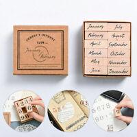 1PC Vintage Stationery DIY Seal Rubber Stamp Set Wooden Craft Stamp Office Month