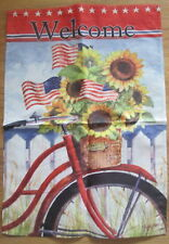 New listing Welcome Bike Stars Stripes Flag Flowers12x18 Small Banner sunflower basket Usa