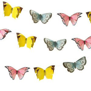 LARGE BUTTERFLY BUNTING Garland Home Garden Birthday Wedding Party Decoration