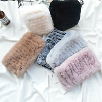 Real Rex Rabbit Fur Ring Cowl Scarf Scarves Neck Winter Warmer Elastic