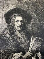 Rembrandt gravure Eau Forte Etching Portrait D'homme