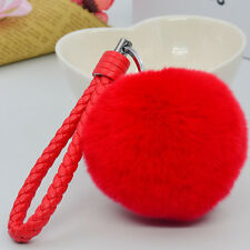"Red 3.15"" Soft Rabbit Fur Ball Fluffy Key Chain Ring Handbag Car Bag accessories"