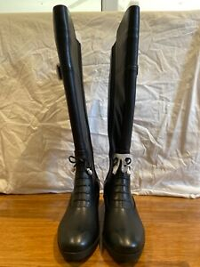 Adrienne Vittadini Black Leather Knee High Boot Size AU 6M BRAND NEW IN BOX