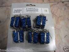 6PK NEW Holiday ! Christmas Decoration Sparkly Gift Box Ornament Color Blue