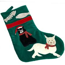 Cats Fish Bones Christmas Stocking Velvet Green Santa Hat