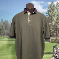 LL BEAN MENS GREEN POLO SHIRT SHORT SLEEVE SIZE LARGE TALL