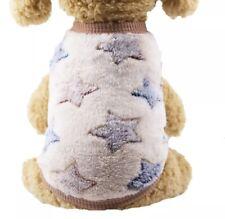 NEW DOG PUPPY SO SOFT FLEECE JUMPER TOP PYJAMAS CREAM BROWN BLUE STAR, FREE P&P!