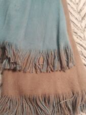 Woman's Tan and Teal Winter Scarf