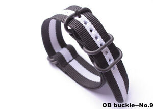 wholesale Nylon casual canvas Watch band Watch Strap OB black buckle 24 color