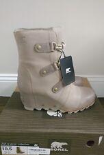 Sorel Joan of Arctic Wedge Booties Mid Boots Waterproof Oxford Tan Leather, 10.5
