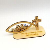 Geldgeschenk zur Firmung Personalisiert mit Namensgravur Christlich mit Fisch