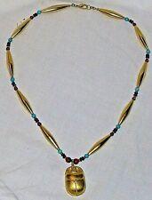 """Egyptian Gold Finish 19"""" Necklace Scarab Beetle Pendant Lazuli Turquoise Beeds"""