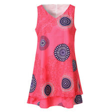 Summer Womens Plus Size Print Midi Loose Shift Sleeveless Tank Vest Sun Dress CA