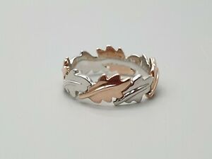 Clogau Silver & 9ct Rose Gold Royal Oak Ring