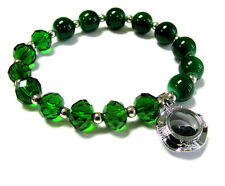 May Birthstone Emerald Green Glass Beaded Stretch Bracelet New w gift bag