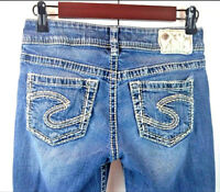 Silver Women's Skinny Capri Jeans Suki Medium Distressed Thick Stitch Size 25