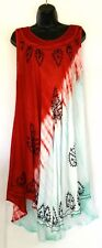 True Rock Summer Spring Tie Dye Red White Green Dress Fits All Free One Size