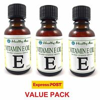 3 x 25ml VITAMIN E OIL GMO-Free Soy Beans Natural Premium Grade 50% Tocopherols