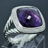 David Yurman Sterling Silver 14mm Amethyst Diamond Cable Albion Ring Size 6.75