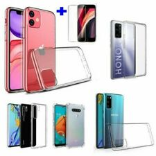 Mobile Phone Safety Glass+Silicone Protective Cover Case Bag TPU Transparent