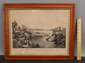 RARE Antique 19thC Railroad Bridge Niagara Falls CURRIER & IVES Lithograph Print
