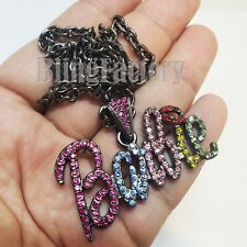 """Women Iced Bling Barbie Pendant & 4mm 18"""" Link Chain Black Fashion Necklace"""
