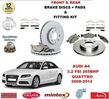 FOR AUDI A4 B8 3.2 FSI QUATTRO FRONT and REAR BRAKE DISCS & PADS + FITTING KITS