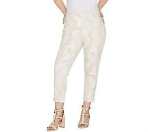 Kelly by Clinton Kelly Printed Ponte Crop Pants Sand Tropical Size Petite Medium