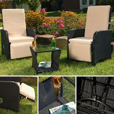Poliratán conjunto jardin 2 sillón + mesa negro conjunto de asientos muebles de jardín silla