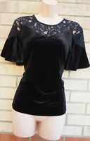 PEACOCKS BLACK VELVET SHORT FLARE SLEEVE LACE PARTY BLOUSE T SHIRT TOP 14 L