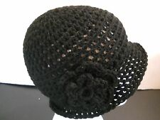 BLACK HAND MADE CROCHET HAT CAP CLOCHE CHEMO GATSBY FLOWER ADULT TEEN 1920's