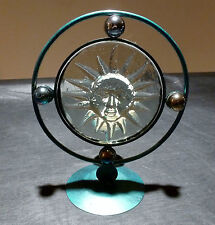 Celestial / Astrological Solar Glass and Metal Candle Holder