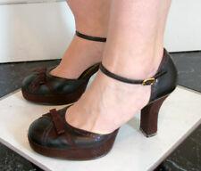 brown rampage heels us 7.5 M vintage 50s style 3 in heel classic party fun dance