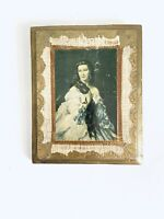 VTG Woman Art Print Gilded Wood Panel Handmade in Italy Florentine Plaques