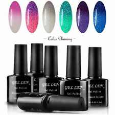 6 Soak Off gel nail polish Set Temperature Color Changing 6 Colors shiny brush