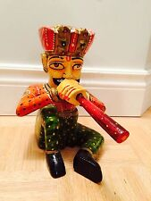 """12"""" Hand Carved Wooden Decorative Multi-Colored Musician Playing Flute"""