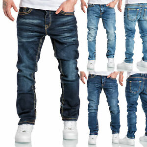 Herren Dicke Nähte Destroyed Jeans Regular Slim Denim Hose Fit 7983BC