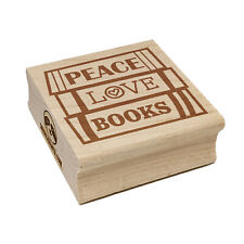 Peace Love Books Reading Stacked Square Rubber Stamp for Stamping Crafting
